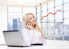 Stock Illustration of smiling businesswoman calling on smartphone