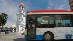 Roundabout in Lebuh Light in front of Queen Victoria Memorial Clock Tower Stock Footage
