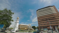 Penang's Clear Blue Sky and Busy Lebuh Light Stock Footage