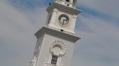 Close Up and Tilt Up Shot of Penang's Queen Victoria Memorial Clock Tower Stock Footage
