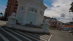 Penang's Famous Queen Victoria Memorial Clock Tower Stock Footage