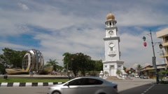Roundabout in front of the Queen Victoria Memorial Clock Tower Stock Footage