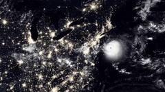 Hurricane Hitting Washington / USA At Night Stock Footage