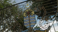 Close Up Shot of Padang Esplanade's Entrance Gate Stock Footage