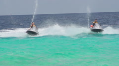 Beautiful Women Speeding On Watercraft - stock footage