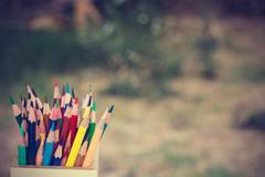 Color pencils in vintage style Stock Photos