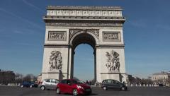 Arc de Triomphe monument Place de L'etoile, Paris - pan 60fps Stock Footage
