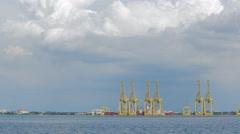 A Wide Angle Shot of Penang Port, Malaysia Stock Footage