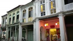 Georgetown, Penang Chinese arts shop-house in terrace Stock Footage