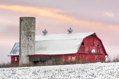 Winter Barn at Sundown Stock Photos
