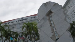 Low Angle Shot of The Eastern & Oriental Hotel in Penang Stock Footage
