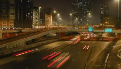 A highway in downtown Chicago timelapse at night Stock Footage