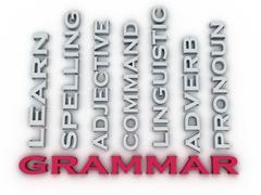 3d image Grammar  issues concept word cloud background. Learning Concept Stock Illustration