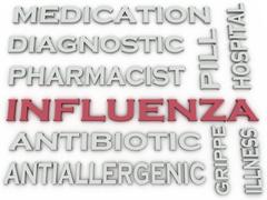 3d image Influenza  issues concept word cloud background - stock illustration
