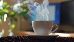 Cup of coffee. Sliding camera, slow motion Stock Footage