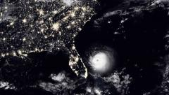 Hurricane Hitting Florida / USA East Coast At Night Stock Footage