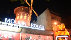 Moulin Rouge in Paris, France Stock Footage