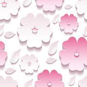 Floral background seamless pattern, pink 3d sakura blossom Stock Illustration