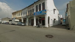 Wide Angle Shot of a Two-Storey Shop Lot in Penang, Malaysia - stock footage
