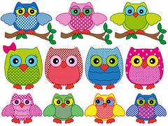 Set of eleven ornamental cartoon owls Stock Illustration
