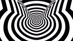 Concentric oncoming abstract symbol, rowdy cat - visual illusion - stock footage