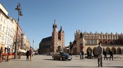 Market Square, Sunny Cracow City, Poland Stock Footage