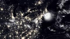 Hurricane Hitting New York / USA At Night Stock Footage