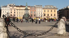 Market Square, Monument Adam Mickiewicz, Sunny Cracow City, Poland Stock Footage