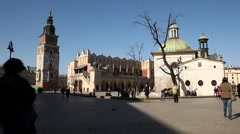 Market Square, Sukiennice, Sunny Cracow City, Poland Stock Footage