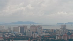 Aerial View and Panning Shot of Georgetown, Penang Stock Footage