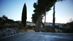 4K Italy Umbria Perugia winter frozen road n Cyprus tree lane Stock Footage