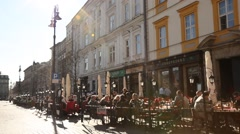 Restaurant, Market Square, Sunny Cracow City, Poland Stock Footage