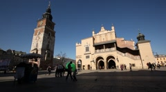 Town Hall, Sukiennice, Market Square, Sunny Cracow City, Poland Stock Footage