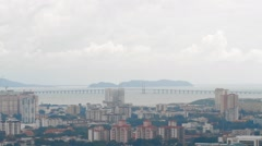 High Angle Pan Shot from Penang Bridge to Komtar Tower Stock Footage
