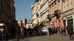 Grodzka Street, Sunny Cracow City, Poland Stock Footage