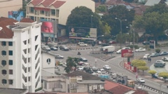 Aerial and Zoom Out Shot of Street Intersections in Georgetown, Malaysia Arkistovideo