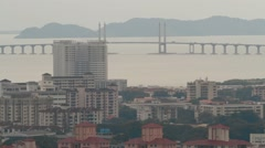 Stock Video Footage of Penang Bridge and Buildings from A High-Angle Shot