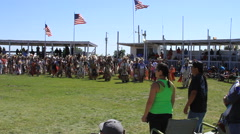 Pow wow grand entry circles arena - stock footage