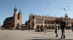Main Square Cracow City, Poland Stock Footage