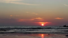 Sunset on one of the sandy beaches of Phuket Stock Footage
