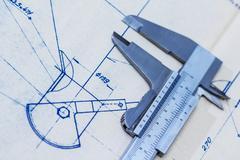 Very detailed mechanical engineering blueprint with gauge / calliper Stock Photos