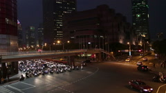 Rush hour traffic at intersection in Xinyi Financial district in Taipei Stock Footage