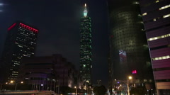 Xinyi Financial District in Taipei, including Taipei 101 Stock Footage