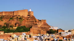 Mehrangarh Fort and the old blue city, Jodhpur, India Stock Footage