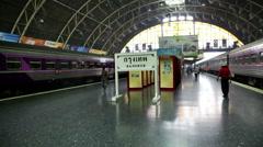 Bangkok Hua-Lamphong station platform & two trains with Bangkok sign Stock Footage