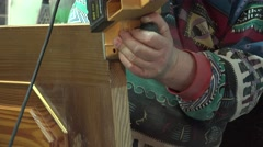 Closeup of Carpenter Working with the Electrical Jointer. Door Tuning. 4k Stock Footage