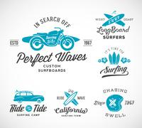 Vector Retro Style Surfing Labels, Logos or T-shirt Graphic Design Featuring Stock Illustration