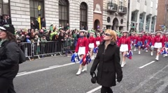 St Patrick Parade Dublin Young American Girls - stock footage