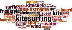 Kitesurfing word cloud - stock illustration