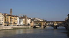 ULTRA HD 4K Ponte Vecchio Old Bridge Florence landmark Italian symbol sunny day  Stock Footage